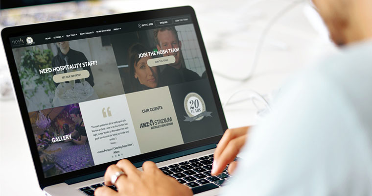 Nosh Website on Laptop